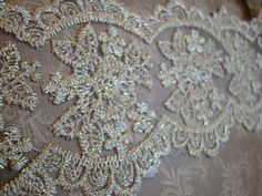 "3.5"" Wide Pale Gold Champagne Lace Embroidered Lace Bridal Lace Gold Embroidery Tulle Lace Dimensional Scalloped Lace Wedding Lace S113"