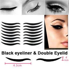 Смоки татуировки макияж глаз сексуальный стиль кошка глаз стикер черный подводка для глаз и двойное веко ленты 16 наклейки