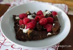 Chocolate Bread Pudding with Raspberries and Melted White Chocolate | Slimming Eats - Slimming World Recipes