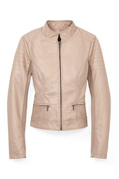 Motocross-inspired shoulder seams give a peach jacket a sporty edge. Stretch fabric makes it extra-fitted.