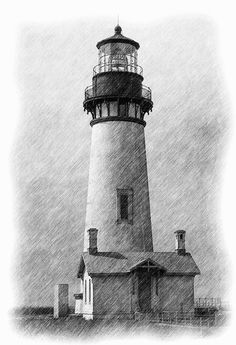 Lighthouses on Behance Landscape Pencil Drawings, Landscape Sketch, Pencil Art Drawings, Art Drawings Sketches, Landscape Paintings, Lighthouse Drawing, Lighthouse Pictures, Lighthouse Art, Mago Tattoo
