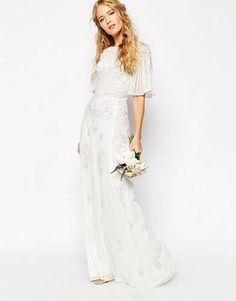 ASOS BRIDAL Iridescent Flutter Sleeve Maxi Dress - White