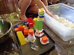 Marissa's Mommy Moments: Shaving Cream and Foam Blocks