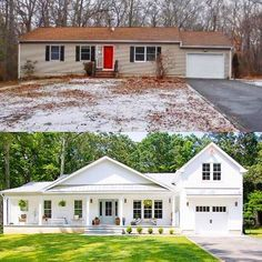A ranch style home makeover from run down to Farmhouse chic! home renovation Our New House - Seeking Lavendar Lane Renovation Facade, Architecture Renovation, Architecture Design, Farmhouse Renovation, Small House Renovation, Bungalow Renovation, Farmhouse Remodel, House Renovations, House Remodeling