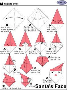 How To Make A Origami Santa Face