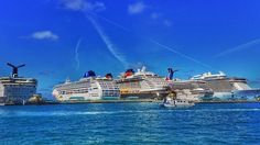 One of about 700 photos from our @carnival #cruise. This one is at Port in #Nassau #Bahamas with a fleet of ships.