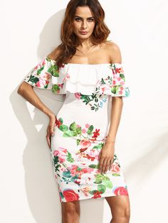 Shop Multicolor Floral Ruffle Off The Shoulder Sheath Dress online. SheIn offers Multicolor Floral Ruffle Off The Shoulder Sheath Dress & more to fit your fashionable needs. Party Dresses For Women, Cute Dresses, Short Dresses, Summer Dresses, Trends 2018, Knee Length Dresses, Pencil Dress, Ruffle Dress, Ruffle Sleeve