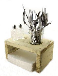 napkin holder salt pepper table organizer WOOD