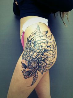 neotraditional tattoo. Indian skull  black and grey tattoo hips #tattoos