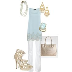 Gold, white and periwinkle - ring, pants, shoes