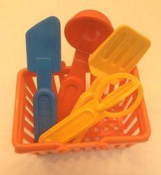 Fisher Price Fun With Food Kitchen Utensils Ladle Whisk Spatula Turner Basket #FisherPrice