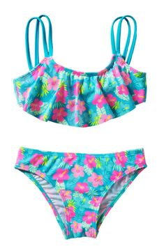 Girls Flower Print Two Piece Ruffle Swimsuit Set