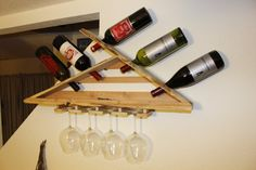 Reclaimed Wood Rough Sawn and Finish Wine Rack by AdVetureArtistry