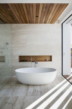 Trends to Try in 2020 - The Decorated Ceiling — Melanie Jade Design The cladded wood ceiling gives t Open Bathroom, Concrete Bathroom, Master Bathroom, Concrete Wood, Shiplap Bathroom, Bathroom Layout, Bathroom With Wood Wall, Bathroom Ideas, Nature Bathroom