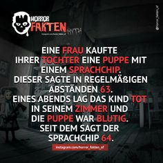 Markiere einen Freund der Puppen hasst . #horrorfakten #fakten #textgram… Funny Horror, Creepy Horror, Creepy Facts, Fun Facts, Paranormal, Cool Pictures, Funny Pictures, What The Fact, Just Kidding