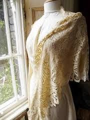 A shawl was was mostly used when going out or taking a walk especially when a dress had shorter sleeves. I imagine Cecile hardly ever using a shawl since she lives in the simplicity of the country and she would be wearing a long sleeve lace dress.