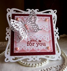 Olena Levchenko: Olena's Place - From My Hands to Your Heart for CottageBLOG: Just For You - 6/3/14.  (Dies:  Fancy Floral Lace Border; Garden Delight Butterflies).  (Pin#1: Cottage Cutz.  Pin+: Butterflies; Background: Sponging).