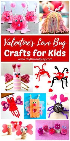 VALENTINES LOVE BUG CRAFTS FOR KIDS! Fun and easy Valentine Craft ideas for preschoolers, elementary kids, and teens. Click through to learn lots of ways to make a love bug. You can make them out of natural and recycled materials and items easily found at the dollar store. These little cuties make a great kid-made gift idea for Valentine's Day!