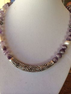Pretty dogtooth amethyst and pearl with silver by RealBeadDesigns