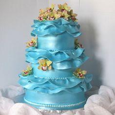 Marie Antoinette ~ Let Us Eat Cake party inspiration board by Bella Bella Studios ~  found via Pinterest ~#marieantoinette #letuseatcake #queen #paris #cupcakes #cake  Blue Ruffle Wedding Cake~photo via flickr