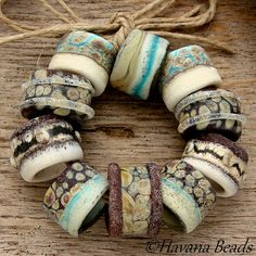 SPECIAL ORDER For MARY - Organic Large Hole Beads - Handmade Lampwork Bead Set - 10 Beads