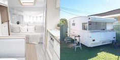 This all-white 1970s Viscount caravan that was remodeled by a blogger who purchased it on eBay.