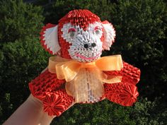 Red Monkey 3D Origami Handmade Gift Modular By QuillingLife