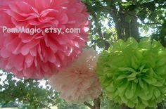 Decorative paper pom poms baby shower bridal by PomMagic on Etsy