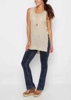image of Sand Cut-Out Sleeveless Top