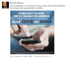 Obama text to donate Facebook post
