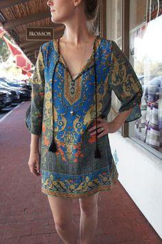 Perfect for the beach or a bbq! Tolani Chloe Tunic ($175.00) #beachcoverup #printedsilkdress #tunic