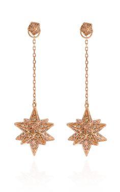 Geometry 101 18K Rose Gold Merkaba Earrings With Diamonds by Noor Fares for Preorder on Moda Operandi