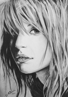 Beautiful pencil drawing. My art teacher told me about this hair technique. Not drawing the individual hairs, only the shadows.  It leaves a much more interesting look.