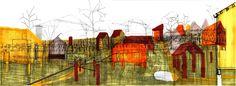 Life on the Lots (2) -- 2012 23.4″ x 8.8″ digital drawing (3D model), ink and colour markers on paper -- 127-Jonas Larsen-15 -- http://www.jonasguneriuslarsen.com/