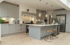 Chatsworth Light Grey and Dust Grey - Real Kitchens Grey Kitchen Diner, Open Plan Kitchen Diner, Cosy Kitchen, Real Kitchen, Kitchen Layout Plans, Shaker Kitchen, Kitchen Ideas, Grey Kitchen Designs, Kitchen Room Design