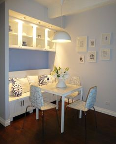 City Chic Man Cave - Modern Dining Nook -Remodel - custom built bench with storage inside the bench, storage above bench and a seat back that can be flipped to serve as a buffet