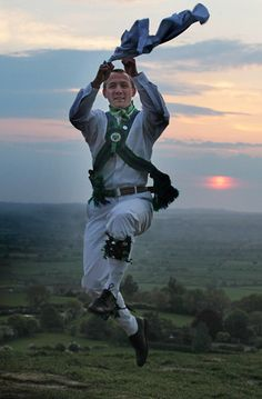 Morris Dancer at May Day Dawn Celebrations on Glastonbury Tor hill.