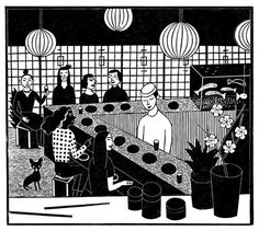 Katrin Stangl: Sushibar, originale woodcut via orangerie-prints.com