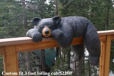 Lolling Cub carved in the amazingly durable and life like medium Laffrez Chainsaw Wood Carving, Wood Carving Art, Wood Art, Black Bear Decor, Bear Statue, Log Cabin Furniture, Whittling Wood, Tree Carving, Wood Carving Patterns