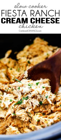 Slow Cooker Fiesta Ranch Cream Cheese Chicken is wonderfully creamy, seasoned to perfection and is as easy as dump and run! It makes the perfect make ahead filling for taquitos, tacos and burritos!