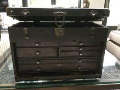 Vintage Grestner Machinists Tool Box w/ Lock and Key by Hannahandhersisters on Etsy Machinist Tool Box, Tool And Die Maker, Vintage Doors, Antique Tools, Work Tools, Garage House, Toolbox, Rustic, Antiques