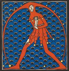 Reproduction tableau de Anton Eichinger, Till Eulenspiegel, c. Anton, Art Nouveau, Animal Graphic, Textile Prints, Textiles, Woodblock Print, Art And Architecture, Vienna, All Art