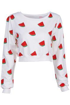 ROMWE | Watermelons Print White Sweatshirt, The Latest Street Fashion