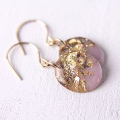 lavender earrings on 14 karat gold hooks gold by tinygalaxies Resin Jewelry, Leather Jewelry, Diy Jewelry, Jewelry Design, Leaf Earrings, Diy Earrings, 14 Karat Gold, Resin Crafts, Creations
