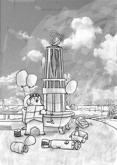 Die Reise beginnt beim Geleucht in Moers. Ein Bär versucht in einem selbstgebauten Luftfahrzeug durch das Ruhrgebiet zu reisen. Abstract, Artwork, Smoking Pipes, Voyage, History, Vehicles, Summary, Work Of Art, Auguste Rodin Artwork