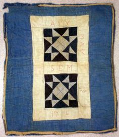 Star pieced doll quilt; Amish quilt