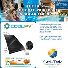 CoolPV® delivers up to four times the total amount of energy of a standard solar electric system from the same rooftop footprint. Think about it: four times the energy from your same roof!