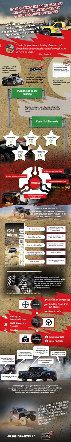 An Infographic on Las Vegas Team Building Activities  -  This Infographic is brought to you by Vegas Off-Road Experience (VORE), the best off-roading experience in Las Vegas. It depicts the different Las Vegas Team Building Activities that boosts employee morale and brings people together. Visit http://www.vore.com/corporate-events.html