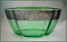 Green Glass Bowl with Silver Band