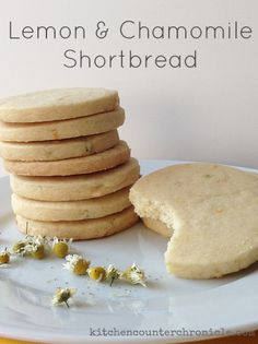 A simple recipe for lemon and chamomile shortbread - crisp and light. A crisp shortbread cookie, lightly flavoured with lemon and chamomile from the garden. Cookie Desserts, No Bake Desserts, Just Desserts, Cookie Recipes, Delicious Desserts, Dessert Recipes, Cookie Cups, Gourmet Cookies, Lemon Recipes